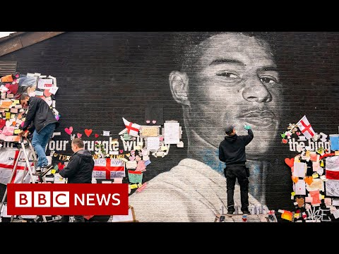 Defaced Marcus Rashford mural in Manchester fixed after racist abuse -  BBC News