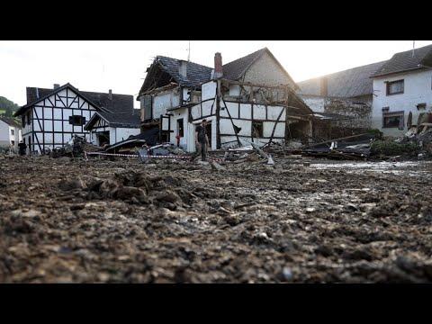 Merkel Tours Flood Damage in Germany