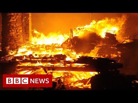 Thousands evacuated as US wildfires burn across California and Nevada - BBC News